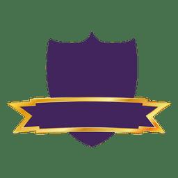 Etiqueta de escudo morado