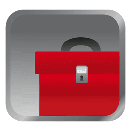 Red briefcase square icon