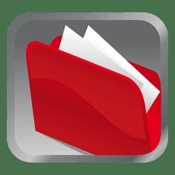 Carpeta roja icono cuadrado