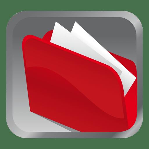 Ícone quadrado pasta vermelha Transparent PNG