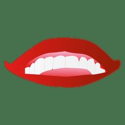 Dibujos animados de labios de chicas rojas