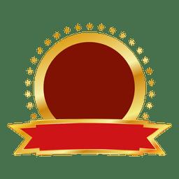 Distintivo redondo ouro vermelho