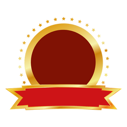 Red gold round badge