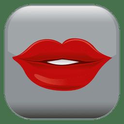 Ícone quadrado de lábios vermelhos