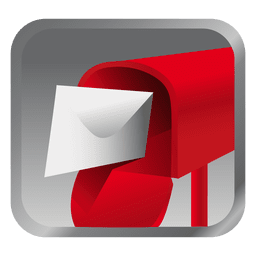 Ícone de caixa de mensagem vermelha