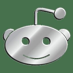 Ícone 3D prata Reddit