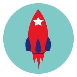 ícone redondo foguete