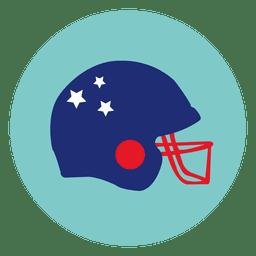 Ícone redondo de capacete de rugby