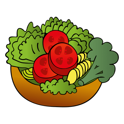 Colorful salad cartoon