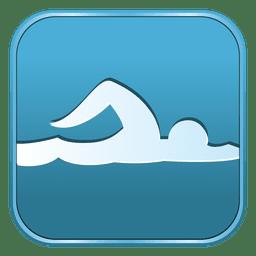 Ícone quadrado de natação