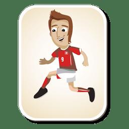 Dibujos animados de jugador de fútbol de Suiza
