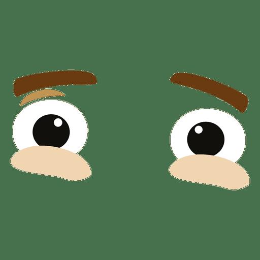 Tensed eye expression