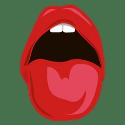 Zunge kam zum Ausdruck