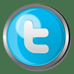 Twitter redondo botão metálico