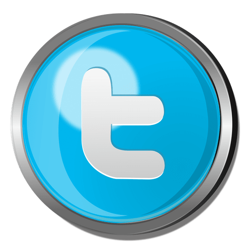 Twitter round metal button Transparent PNG