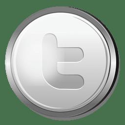 Twitter em ícone de círculo prateado
