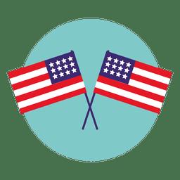 Icono de ronda de banderas de usa