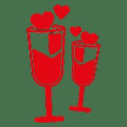 Valentine chamaign glasses