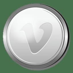 Icono de círculo de plata vimeo