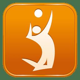 Ícone quadrado de voleibol