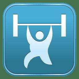 Icono cuadrado de levantamiento de pesas