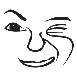 Wink hand drawn emoticon