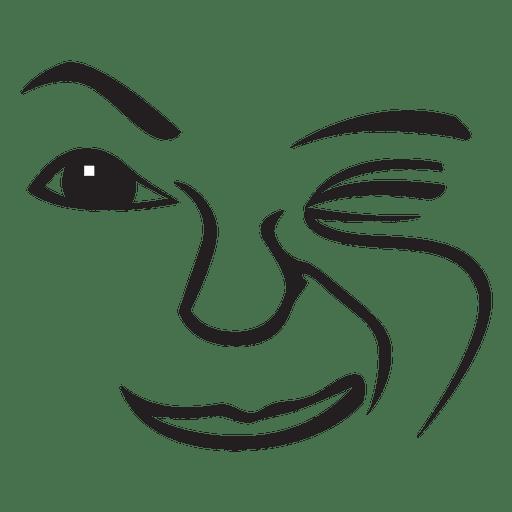 Wink hand drawn emoticon - Transparent PNG & SVG vector
