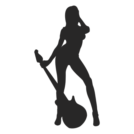 Silueta de mujer guitarrista