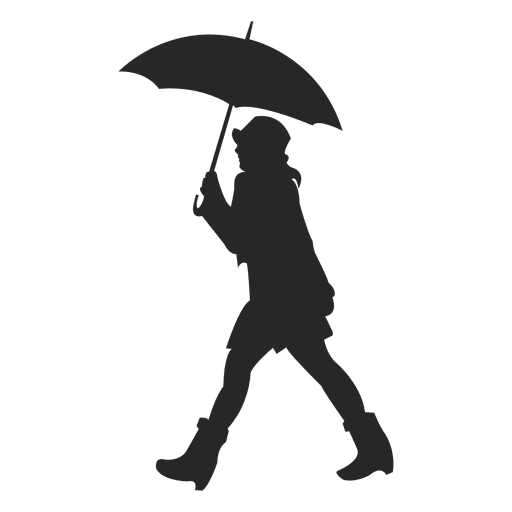 Woman holding umbrella and walking Transparent PNG
