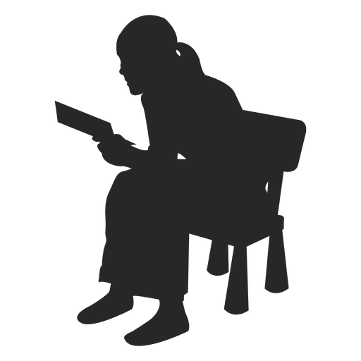 Woman reading on chair Transparent PNG