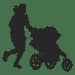 Mulher com carro de bebê