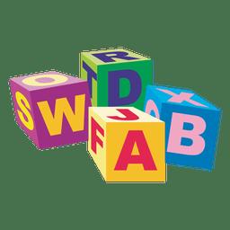 Cubos alfabéticos de madeira