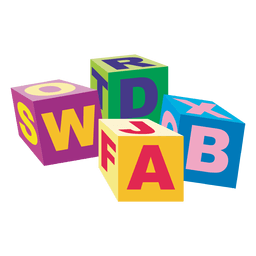 Wooden alphapetic cubes