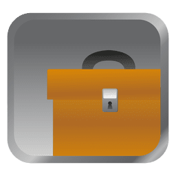 Yellow briefcase square icon