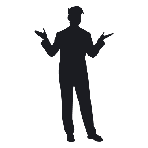 Young man standing silhouette Transparent PNG