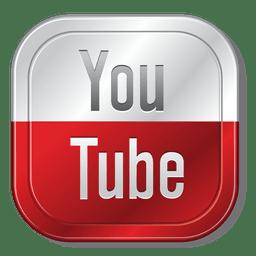 Botão metálico do Youtube