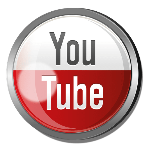 Youtube round metal button Transparent PNG
