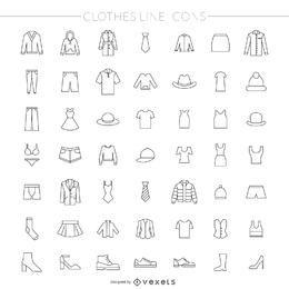 Pacote de ícones de linha fina de roupas