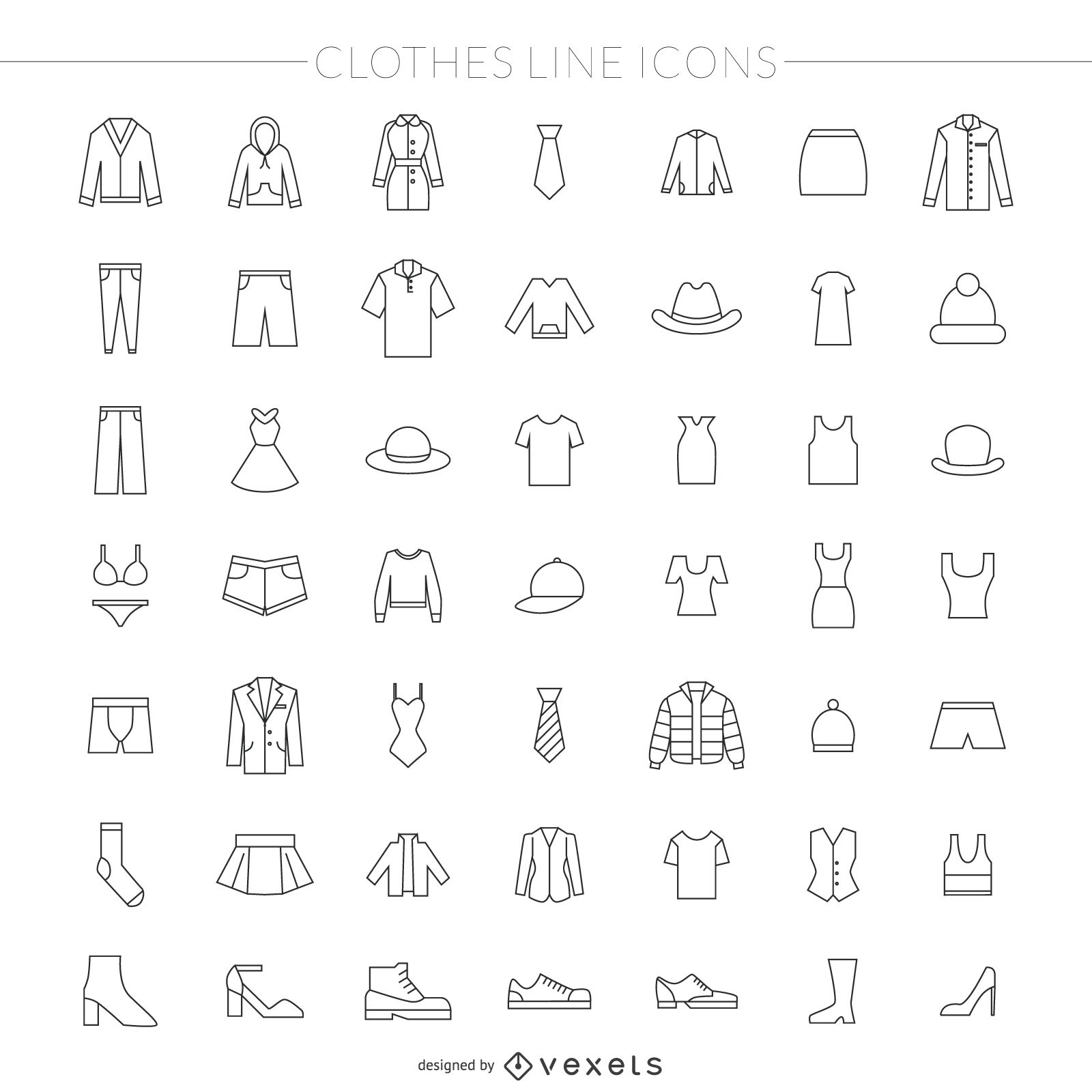Paquete de iconos de línea fina de ropa