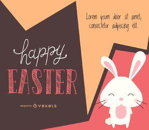 Diseño de Pascua con un conejito ilustrado.