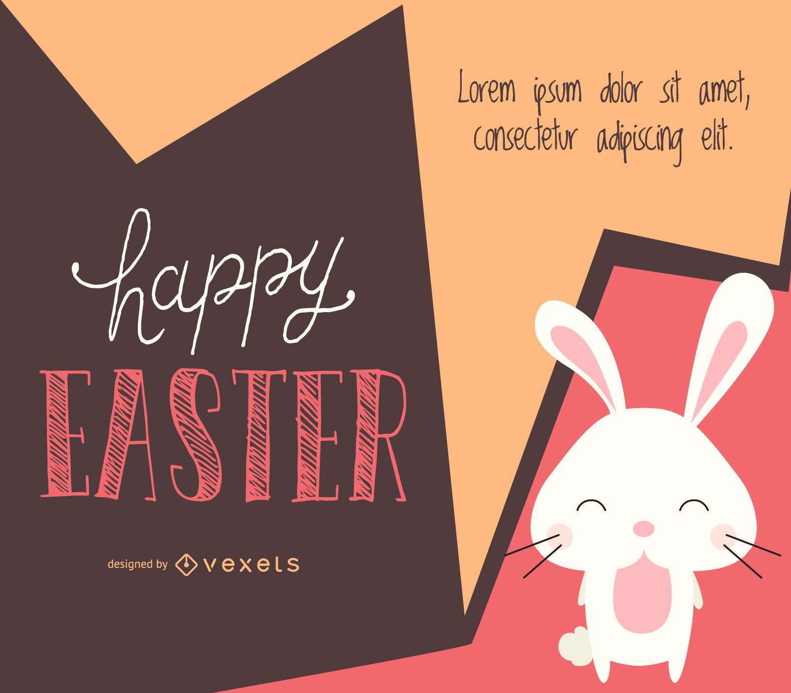 Diseño de Pascua con conejito ilustrado.