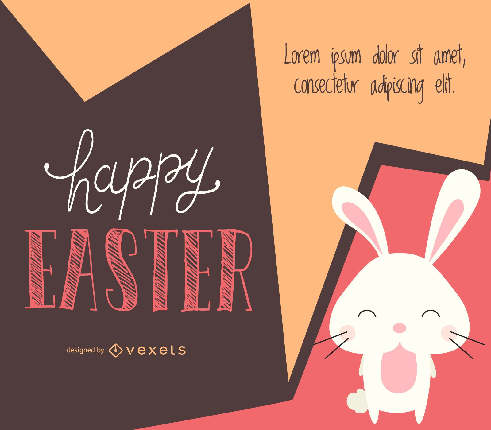 Easter design with an illustrated bunny