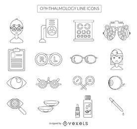 Colección de iconos de oftalmología trazo