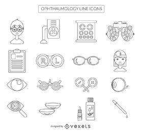Stroke ophthalmology icon collection
