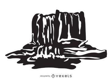 Ilustración de cascada en blanco y negro