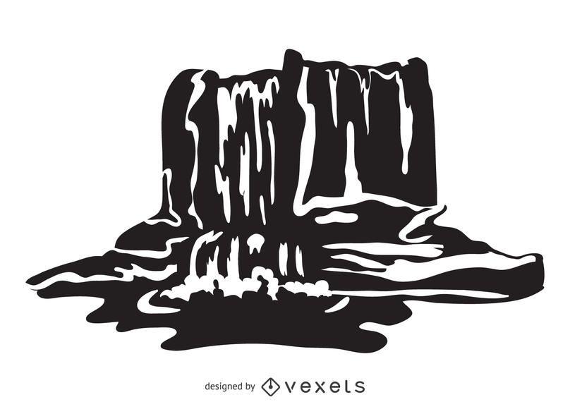 Cachoeira ilustração em preto e branco