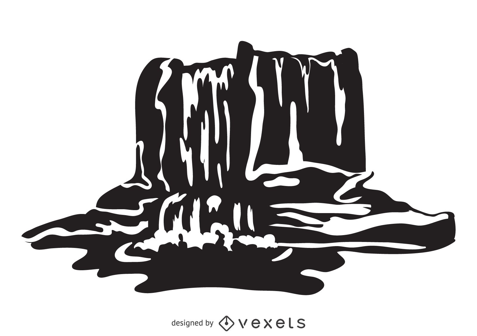 Waterfall illustration in black and white