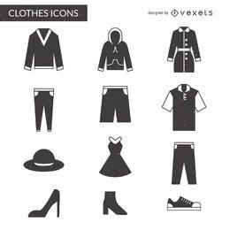 Conjunto de ícones de roupas planas senhora e cavalheiro