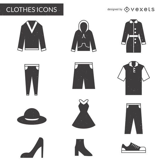 Flat clothes icon set lady and gentleman