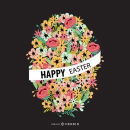 Huevo de Pascua floral con cinta